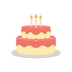 Birthday cake vector isolated illustration