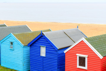 Colourful beach huts in the popular seaside town Southwold of the UK
