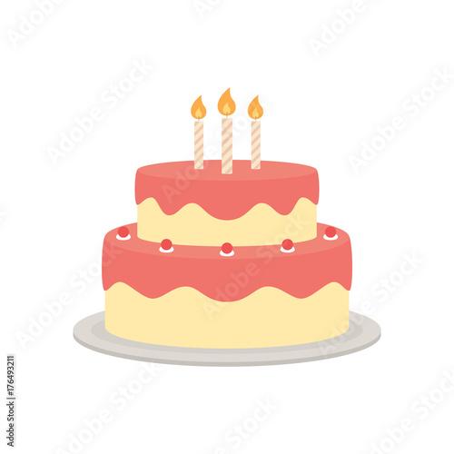 """Birthday Cake Vector Isolated Illustration"" Stock Image"