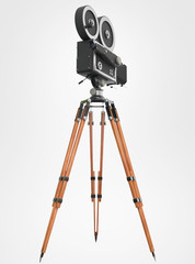 vintage retro movie camera tripod mount isolated on white high quality rendering