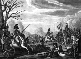 Engraving battle of the war between France and Russia.
