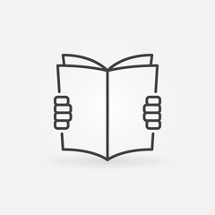 Hands holding a book icon