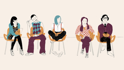 Five people sitting on chairs in a row