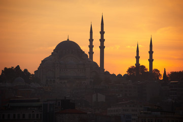 silhouette mosque on sunset time, Istanbul Turkey