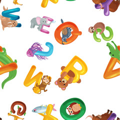 Animals alphabet background, Set of cartoon English type letters with cute zoo wildlife in seamless patterns vector illustration. Textures for blocks or children fabric