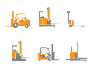 Set icons of loader equipment isolated on white. Vector illustration