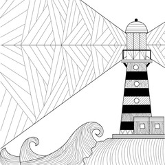 Seascape coloring book for adult, anti stress coloring raster