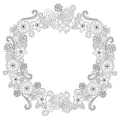 Flower frame oval coloring book raster illustration
