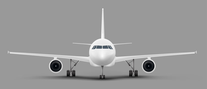 White passenger airplane or personal business jet standing on the ground front view realistic vector illustration. Civil aviation landed aircraft blank template for tourism and travel concept design