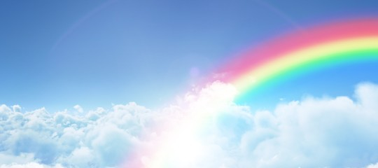 Composite image of graphic image of rainbow