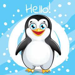 Vector illustration of cartoon penguin. Hello.