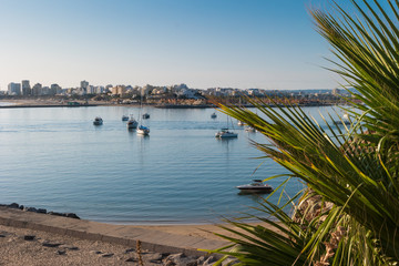 View to the yacht marina of Portimao. View from the beach of the Molhe in Ferragudo, Algarve