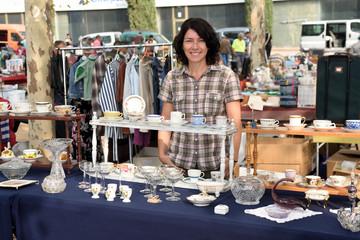 woman at a flea market shop