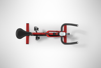 Sports bikes home from above red 3d render on gray background