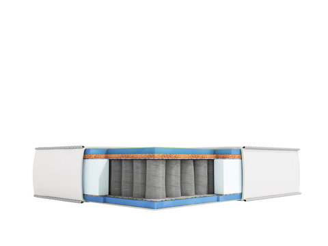 Modern white orthopedic mattress in section with blue filler 3d render on white background no shadow