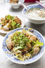 fried bean curd and Meat Dumplings in Spicy Sauce