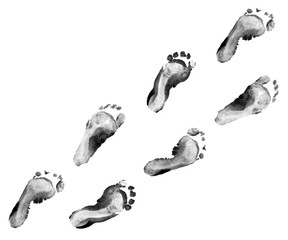 Ink footprints kid set isolated on white background. Many fingerprint or stamp texture artwork of kids for education and journey. Top view. Black and white colors. Close up.