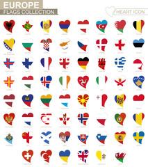 Vector flag collection of European countries. Heart icon set.