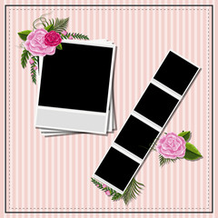 Blank photoframes on pink background with roses