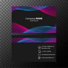 Businesscard template with blue and pink wavy lines