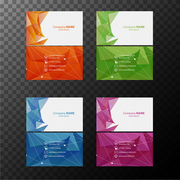 Four businesscard templates with front and back views