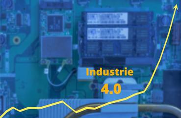 Liniendiagramm und Mikroelktronik Wachstum durch Industrie 4.0 - Line Chart and Microelectronics Growth through Industry 4.0