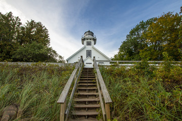 Old Mission Point Lighthouse In Michigan. The Old Mission Point lighthouse was built in the 1860's. It now is the centerpiece of a county park and tourist destination.