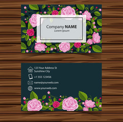 Businesscard template with pink roses on green background