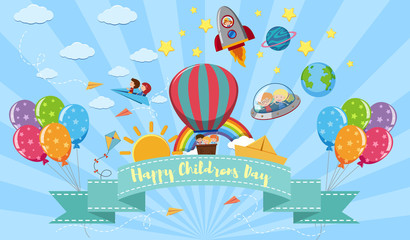 Happy Children's day poster with kids and toys