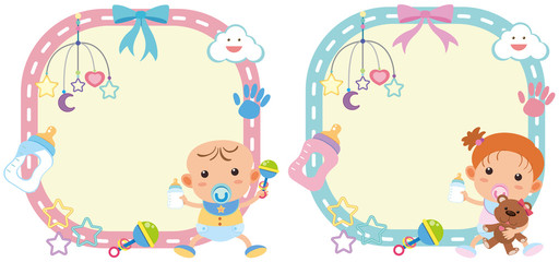 Two border template with baby boy and girl