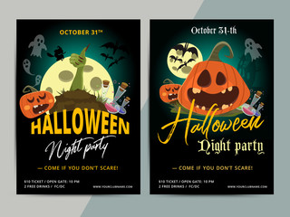 Happy Halloween party poster template design. All hallow eve flyer in scary cartoon style. All saint holiday club event layout. Vector illustration