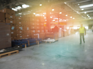 It is a warehouse of a large-scale shopping center, Blurred warehouse or storehouse as background