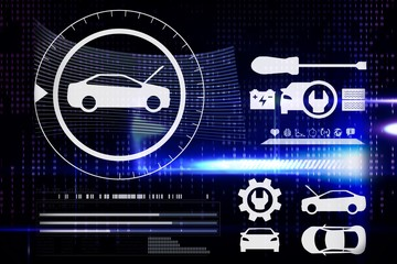 Composite image of digital image of cars and tools