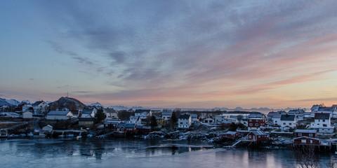 Village on the coast of the Lofoten Islands at dusk