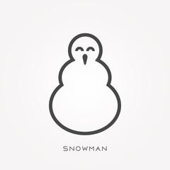 Silhouette icon snowman