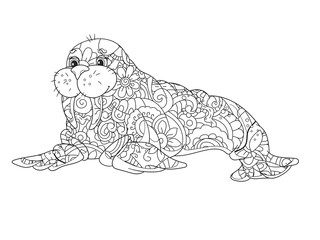 Sea walrus. An animal of the North Pole. Coloring book