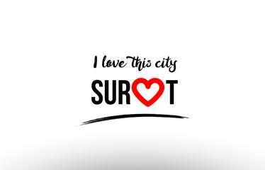 surat city name love heart visit tourism logo icon design