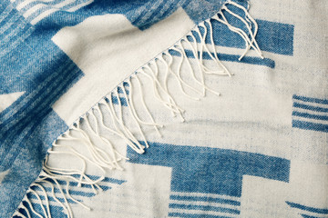 Blue and white striped plaid on white background