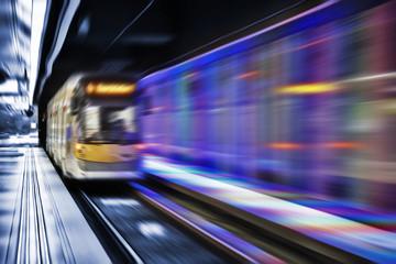 Inside view of Motion blurred underground