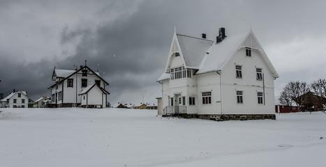 Houses in the snow in Andenes in Norway