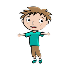 Cartoon child happy boy avatar, vector