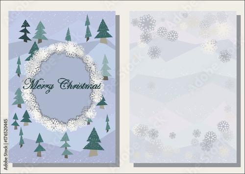christmas greeting card polygonal firs trees shabby winter decor
