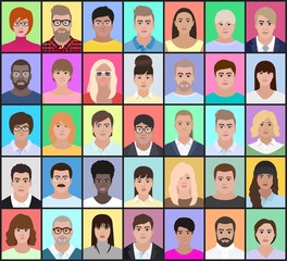 Portraits of different people on a colorful background, vector illustration