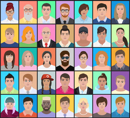 Portraits of people of different nationalities on a colorful background,  vector illustration