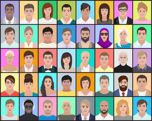 Portraits of people on a colorful background, the choice of the person, detailed drawing, vector illustration