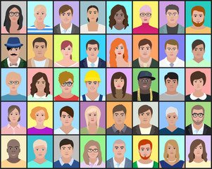 Portraits of people on colorful background, vector illustration
