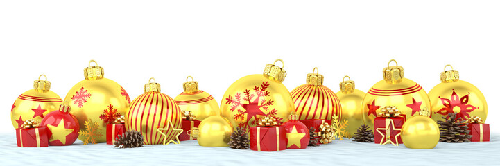 Many golden and red christmas baubles and christmas decorations over white background - panorama - merry christmas concept