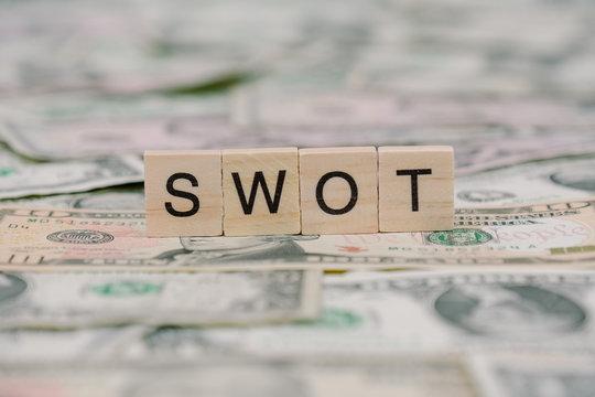 """the word """"SWOT"""" written in wooden block letters"""
