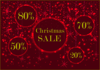 holiday glowing signboard Christmas sale and discount rate  in a round frame, decorated with glowing bright snow, red colors