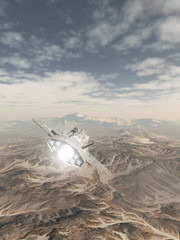Spaceship Flying over a Snowy Mountain Landscape - science fiction illustration